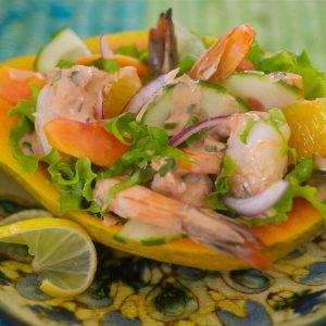 Shrimp Salad with Papaya and Honey Jerk Dressing