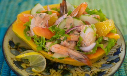 Shrimp Salad with Papaya and Honey Jerk Dressing