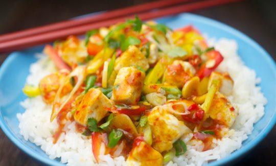 Honey Ginger Spicy Chili Tofu